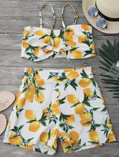 SHARE & Get it FREE | Lemon Knotted Crop Top And Shorts Set - White SFor Fashion Lovers only:80,000+ Items • New Arrivals Daily Join Zaful: Get YOUR $50 NOW!
