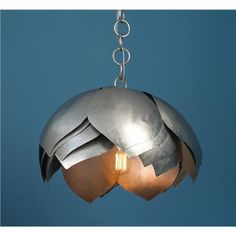 Metal Lotus Pendant at Shades of Light $499.00. I could make this...or at least try!