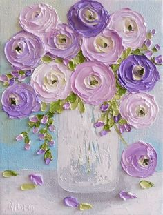Pinks and Lavender Ranunculus Impasto Painting, Cottage Chic Painting,Impasto Floral painting - art floral Small Paintings, Large Painting, Landscape Paintings, Nature Paintings, Bright Paintings, Floral Paintings, Watercolor Paintings, Art Texture, Texture Painting