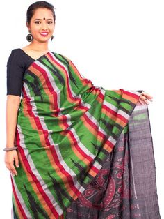 Buy Dark Green/multicoloured Sambalpuri Cotton Saree shop the collection @ www.essenceofindia.com