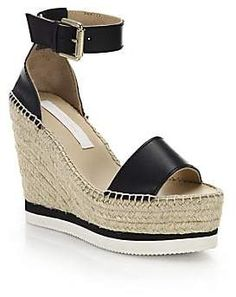 db72ca5cb3 See by Chloe Women s Glyn Leather Espadrille Wedge Platform Sandals