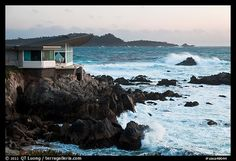 Butterfly house and waves. Carmel-by-the-Sea, California, USA