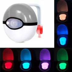 [$4.73] Pikachu Elf Ball Style Motion Activated Sensor Detector Home Toilet Bathroom Seat Night Light, Multi-mode 6 Color Light(Grey)