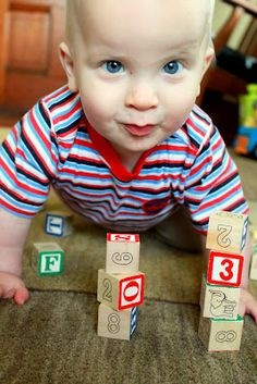 Baby Play : Block Towers -- stack up towers for JUST the purpose of letting your baby knock them down.