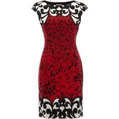 Linea Cap sleeve print boarder dress ($41) ❤ liked on Polyvore featuring dresses, vestidos, short dresses, red, shift dress, print shift dress, short red cocktail dress and red mini dress