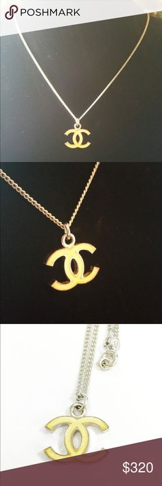 """Chanel CC silver pendant CHANEL Silvertone Chain Enamel CC Pendant Necklace  Silver tone chain Cream color enamel CC logo pendant Closure/Opening: Spring ring clasp  Measurements Approx. 17"""" total L and 0.6"""" pendant L CHANEL Jewelry Necklaces"""
