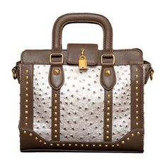 Studded Ostrich Satchel Taupe, $55, now featured on Fab.
