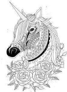 Sacred Unicorn Coloring Page With Roses
