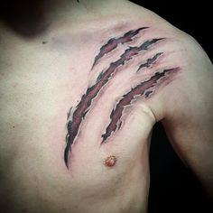 Scratches, Torn Skin by Pete. #inked #tattoos #colourtattoos #inkaddicts #inkjunkeyz #tattooed #claws #red #blood #flesh #doctorpete
