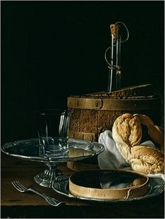 Luis Melendez: Still Life With Box of Jellied Fruit, Bread, Silver Salver, Glass and Wine Cooler