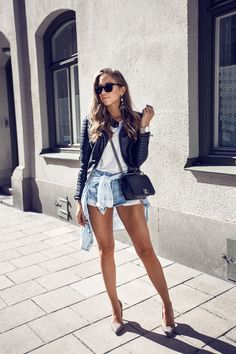 Kenza Zouiten - Leather Jacket from Chiquelle  // Pumps from Zara // Acne t-shirt // Prada sunglasses // Levis shorts // Chanel boy bag // watch from Larsson & Jennings http://FashionCognoscente.blogspot.com