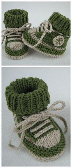 Strickanleitung für Babyschuhe im Turnschuh Design / digital knitting pattern for baby shoes looking like converse chucks made by piccolo popolo via DaWanda.com
