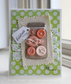 great use of jar stamp -- and buttons and lace and a little stitching