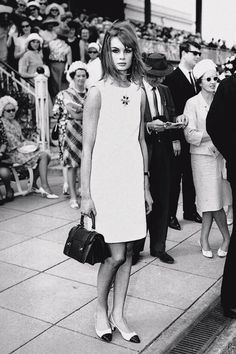 Jean  Shrimpton - no hat, no gloves, bare legs, wore a mans watch, AND her dress was above her knee .....