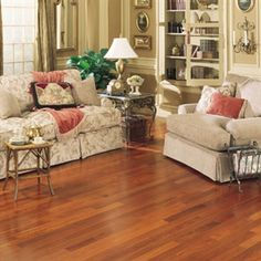 """Picture of Mullican Pre-finished Exotics Brazilian Cherry-Natural 3 1/4"""", call for pricing, medium brown hardwood, 25 year warranty"""