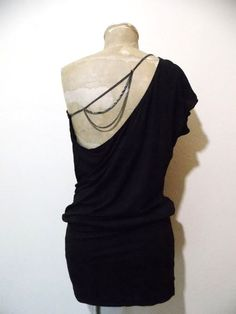 Intimissimi Dress Size Medium Black Mini Club Chain One Shoulder Stretch Italy  #Intimissimi #OneShoulder #Clubwear