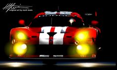 """""""DARK RED""""  The Dodge SRT Viper in the night of the 2014 Petit Le Mans. Original Art by MLewis"""