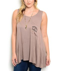 This Brown 'Happiness' Swing Tank - Plus is perfect! #zulilyfinds