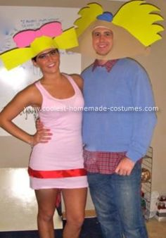 Homemade Hey Arnold Halloween Couple Costume: We originally wanted to do the CatDog costume that was posted on this site, but realized it would be hard being back to back all night! We started brainstorming
