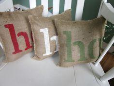 Christmas pillows, holiday pillows, ho ho ho, santa, shabby chic, farmhouse decor burlap pillow. $30.00, via Etsy.