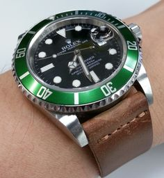 Rolex Submariner LV 50th Anniversary Model Reference 16610 On Brown Calfskin #Rolex, #Submariner, #Watches, #Menswear, #Womw, #Wruw, #Horology, #Oyster, #Mens fashion - omegaforums.net