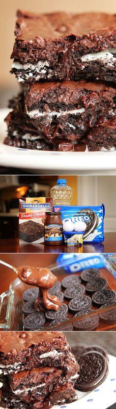Cookies 'N Cream Oreo Fudge Brownies. Made with cookies and cream ice cream right in the brownie batter!!