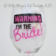Bride Hand Painted Wine Glass by MorgansGiftBoutique on Etsy, $20.00
