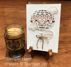 Stampin' Up Lift Me Up Bundle Hot Air Balloon Card Lift Me Up Clear-Mount Stamp Set 142896 Up & Away Thinlits Dies 142748 Crumb Cake Thick Baker's Twine Regals Enamel Shapes 141681