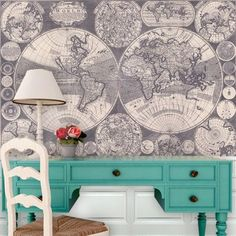 """Swag Paper World Map Wall Mural Size: 132"""" H x 90.24"""" W"""