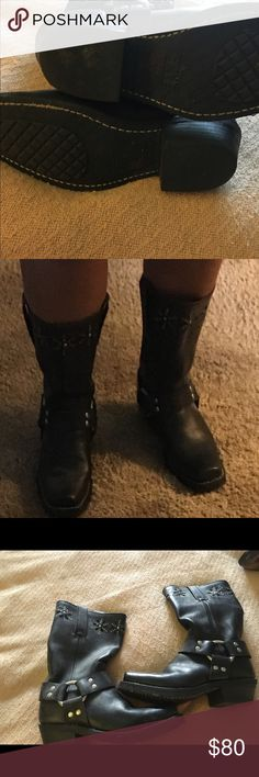 Motorcycle boots Frye black leather motorcycle boots. Barely worn. Size 6. Paid $200+ Frye Shoes Combat & Moto Boots