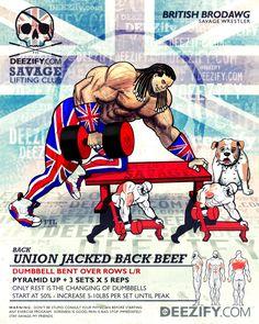 back exercise: dumbbell lat rows bulldog