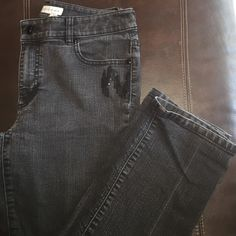 Chicks Faded Black Straight Jeans These Chico's straight legged jeans are faded black in color.  They have black sequin detail on the front and back pockets. Super cute with some booties! Chico's Jeans Straight Leg