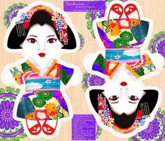 Sakura Cut N Sew Doll fabric by tiffanyhoward on Spoonflower - custom fabric