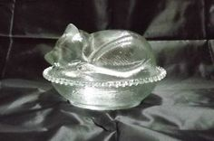 jar lid images, kitten | ... Indiana Glass Cat Jar Kitten Candy Covered Dish with Lid Clear - 2