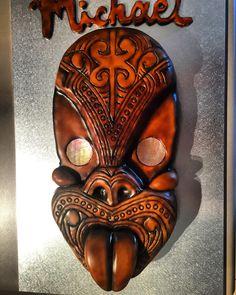 Maori Tiki Cake. Maori Art, Cake Ideas, Bones, Cake Decorating, Lion Sculpture, Statue, Pendants, Wood, Sculptures