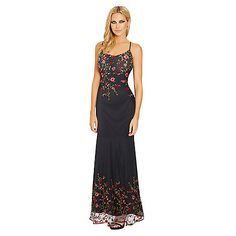Channel ultra-sexy style in this all over embroidered mesh overlay maxi dress. Featuring a figure enhancing bodycon fit, cami straps, short black lining and a sheer fishtail hem Team this dress with a pair of barely there heels for extra style points.