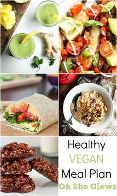 Healthy Vegan Meal Plan - Featuring recipes from Oh She Glows - great ideas for your Meatless Monday or adding more veggies to your family dinners