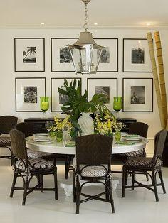 Beto Galvez e Nórea de Vitto - Tempo da Delicadeza. Large Urn with Bamboo is like mine. British Colonial Decor, Dinner Room, Beautiful Dining Rooms, Dining Room Inspiration, Eclectic Decor, Dining Room Design, Beautiful Interiors, Decoration, Home And Living