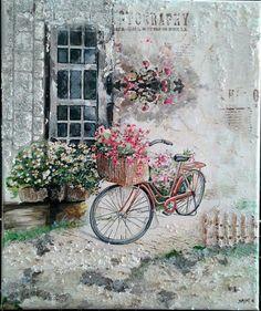 Χαρά θεοδωρίτση Napkin Decoupage, Decoupage Vintage, Decoupage Paper, Vintage Paper, Bicycle Painting, Bicycle Art, Vintage Pictures, Vintage Images, Etiquette Vintage