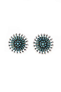 Zuni Needle Point and Petit Point Turquoise Cluster Earrings www.silvereaglegallery.com