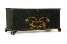 Hand Painted Blanket Chest in Pine Schoharie County, New York, 19th Century.