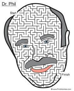 A-maze-ing face maze of Dr. An amazing TV host has now been immortalized with an a-maze-ing face maze. Free Coloring Pages, Maze, Printables, Fresh, Cool Stuff, Free Colouring Pages, Print Templates, Labyrinths