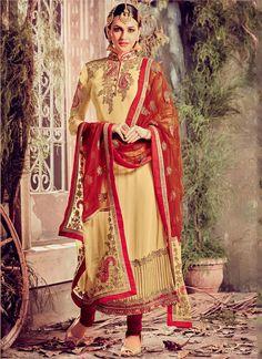 Sparkling Cream Georgette Designer Suit