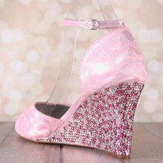 bbaae853aa64 Lace Wedding Shoes Pink Wedding Shoes Pink by EllieWrenWeddingShoe. Ellie  Wren Custom Wedding Shoes · Wonderful Wedding Wedges