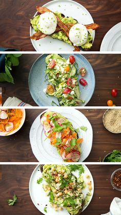 Avocado toast is already amazing, but why not make it better with bacon, eggs, slaw, tuna and other toppings? food recipes dinners healthy Avocado Toast 4 Ways Healthy Breakfast Recipes, Brunch Recipes, Vegetarian Recipes, Cooking Recipes, Healthy Recipes, Avocado For Breakfast, Figs Breakfast, Cooking Cake, Healthy Snacks For Adults