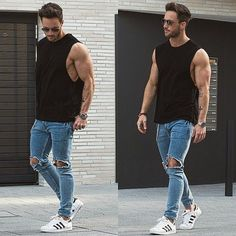 Perfect off-business look in Black Tank Top, Blue Ripped Jeans and a pair of…