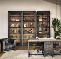 A two-tone finish beguiles the senses in this antiquated, library bookcase. The exterior of the Ivy Bookcase is finished in a hand-rubbed black while the interior shelves with unique iron supports… Home Library Design, Home Office Design, Home Office Decor, House Design, Home Decor, Office Ideas, Office Setup, Office Style, Door Design