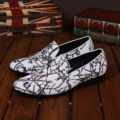 71.28$  Watch now - http://alis8d.shopchina.info/go.php?t=32794092645 - 2017 New Men's Luxyry Fashion High-end Art Graffiti Men Shoes Luxury Fashion Men Loafers Men's Flats Shoes White Plus Size 38-46 71.28$ #magazine