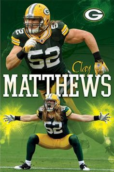 green bay packers football | NFL - Green Bay Packers Clay Matthews Relentless Football Poster