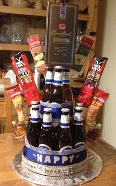 Going to do this for the Mr. for Valentines Day this year i think.but with Jack Daniels Redstripe beer. Beer Bouquet, Candy Bouquet, Liquor Bouquet, 21st Birthday, Birthday Gifts, Birthday Parties, Cake Birthday, Beer Basket, Spa Basket